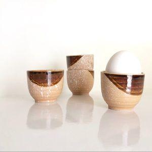 Four Egg or Sake Cups Salmon and Brown Drip Glaze